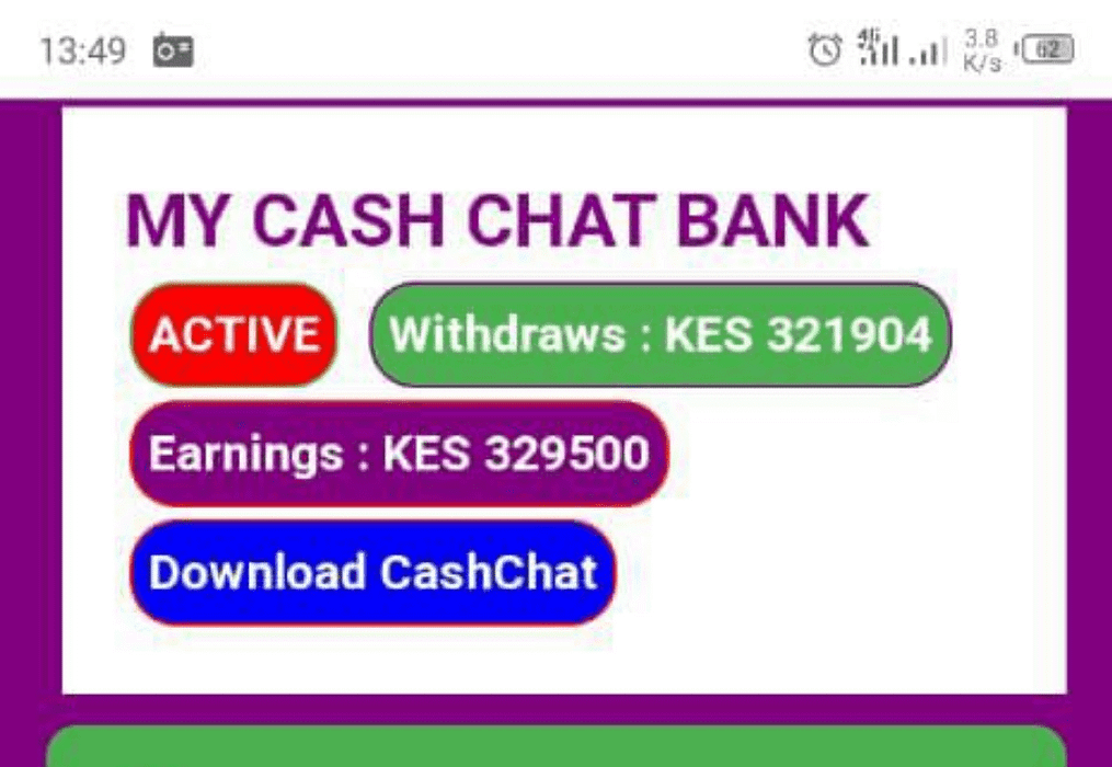 An image showing how much I earn from CashChat