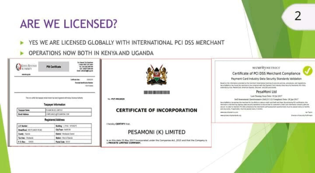 Pesamoni, BoldCashers and Cashchat legal company documents proving their operations in Kenya and Uganda