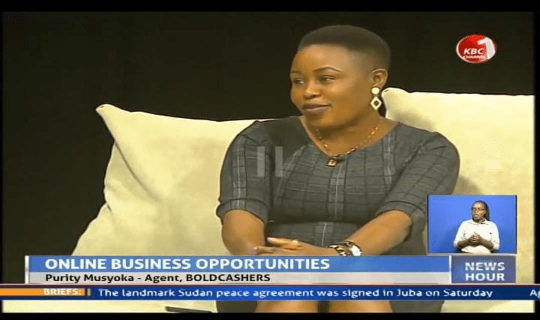 Purity Musyoka being interviewed by KBC on online business opportunities in Kenya