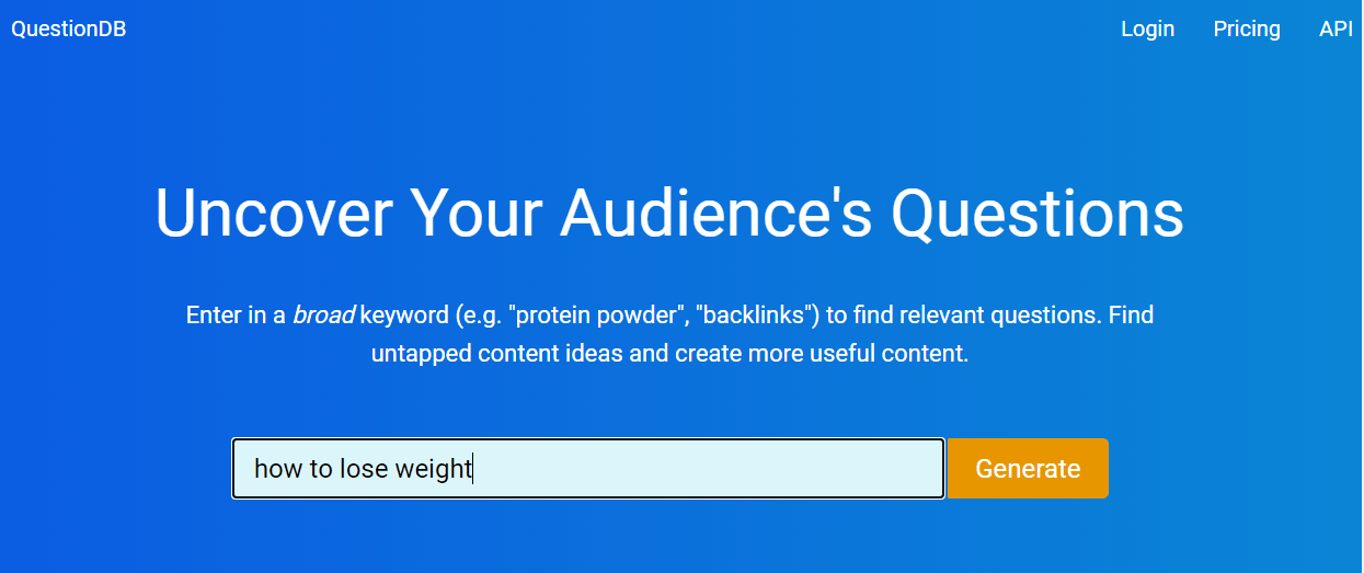 QuestionDB keywords generator