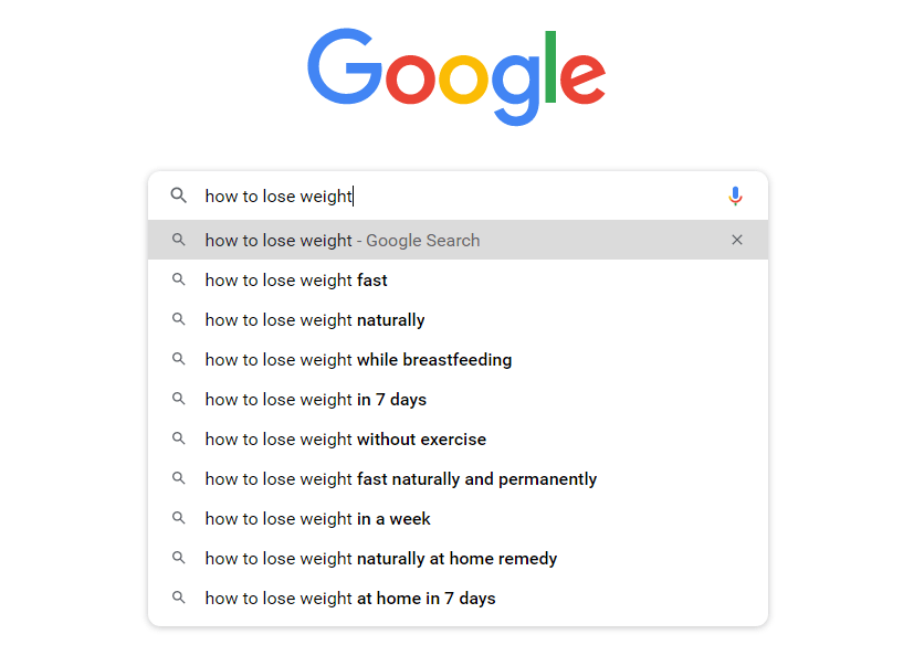 finding keywords using the Google Autocomplete