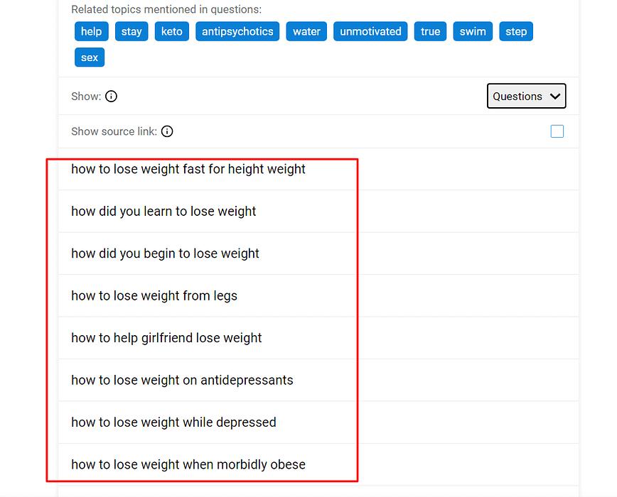 Extracting Keywords using QuestionDB